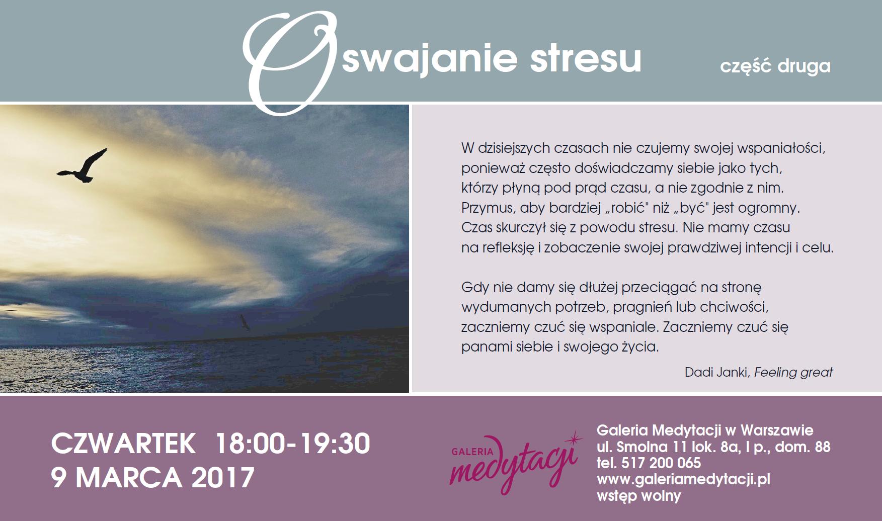 Oswajanie stresu. Część 2 @ Galeria Medytacji w Warszawie