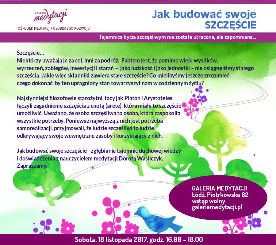 Jak budować swoje szczęście. Spotkanie w Łodzi @ Galeria Medytacji w Łodzi