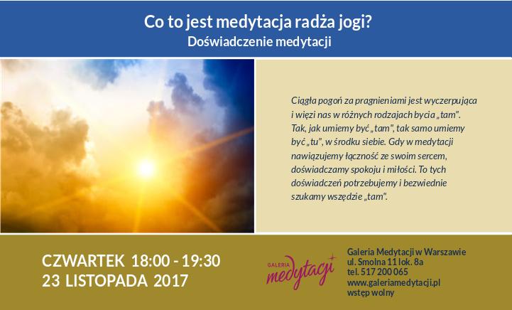Co to jest medytacja radża jogi?  Doświadczenie medytacji @ Galeria Medytacji w Warszawie