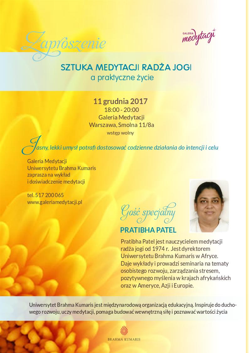 Sztuka medytacji radża jogi a praktyczne życie. Spotkanie w Warszawie @ Galeria Medytacji w Warszawie