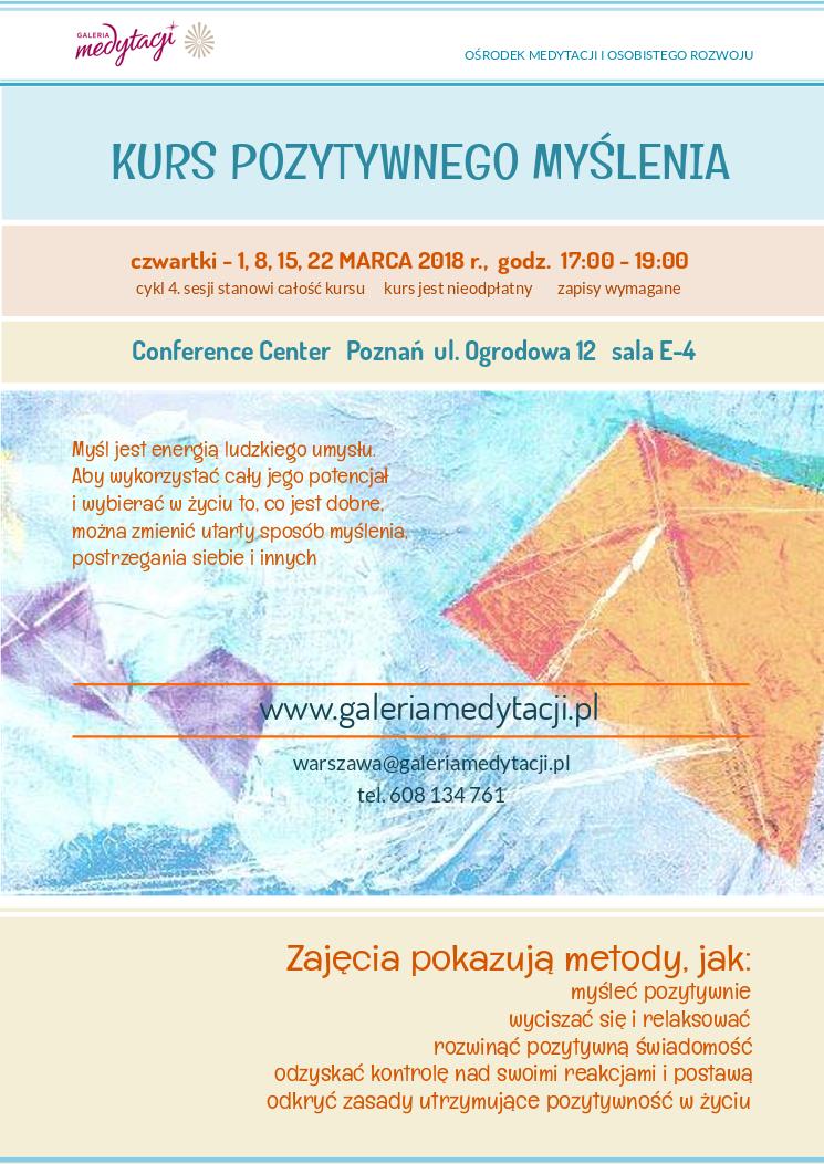 Kurs pozytywnego myślenia w Poznaniu @ Conference Centre, sala E-4