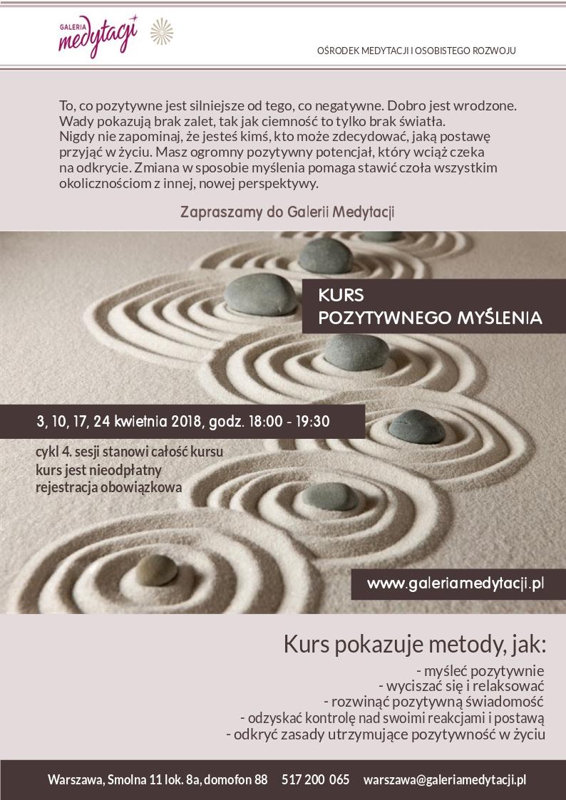 Kurs pozytywnego myślenia w Warszawie @ Galeria Medytacji w Warszawie