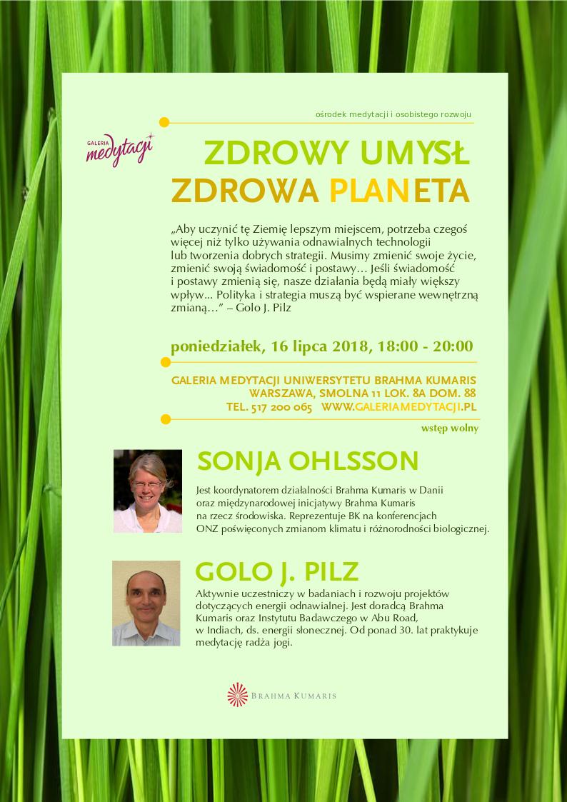 Zdrowy umysł, zdrowa planeta. Spotkanie w Warszawie @ Galeria Medytacji w Warszawie