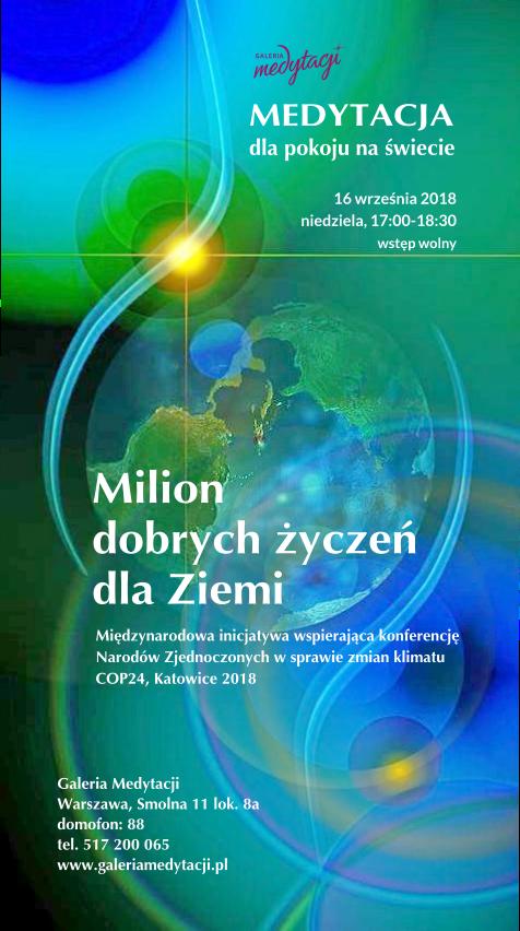 Medytacja dla pokoju na świecie w Warszawie. Inicjatywa: Milion dobrych życzeń dla Ziemi @ Galeria Medytacji w Warszawie