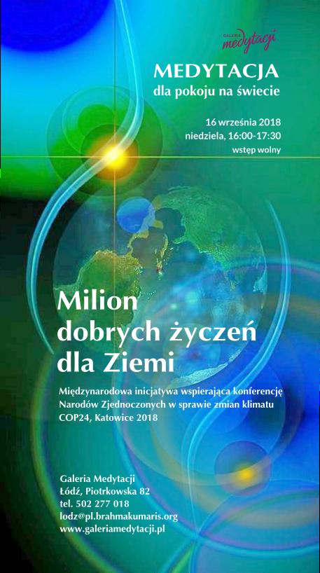 Medytacja dla pokoju na świecie w Łodzi. Inicjatywa: Milion dobrych życzeń dla Ziemi @ Galeria Medytacji w Łodz