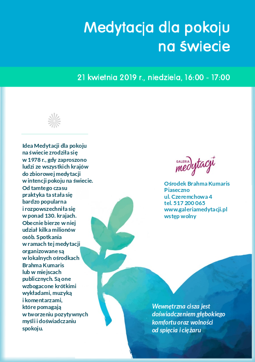 Medytacja dla pokoju na świecie w Piasecznie @ Ośrodek Brahma Kumaris w Piasecznie
