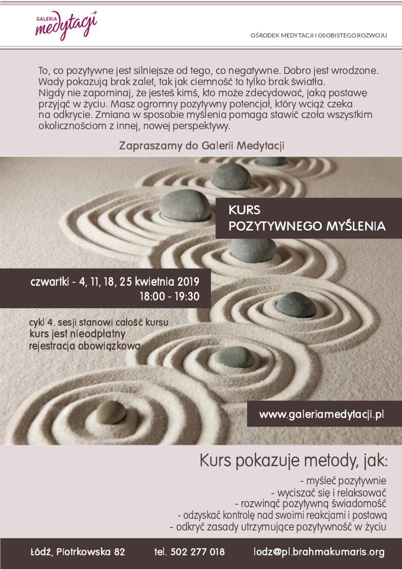Kurs pozytywnego myślenia w Łodzi @ Galeria Medytacji w Łódzi
