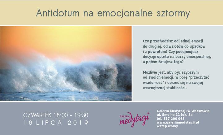 Antidotum na emocjonalne sztormy. Spotkanie w Warszawie @ Galeria Medytacji w Warszawie