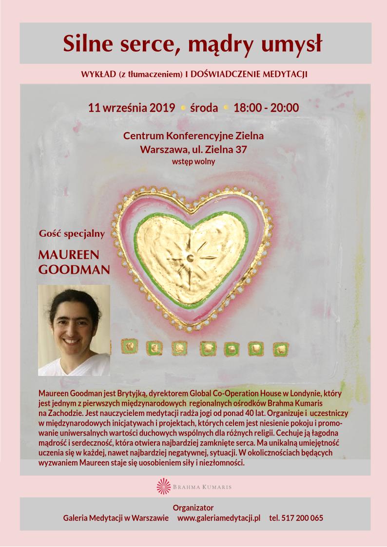 Spotkanie w Warszawie z Maureen Goodman, gościem specjalnym z Wielkiej Brytanii. Temat spotkania: Silne serce. Mądry umysł @ Centrum Konferencyjne Zielna w Warszawie, sala Wystawowa