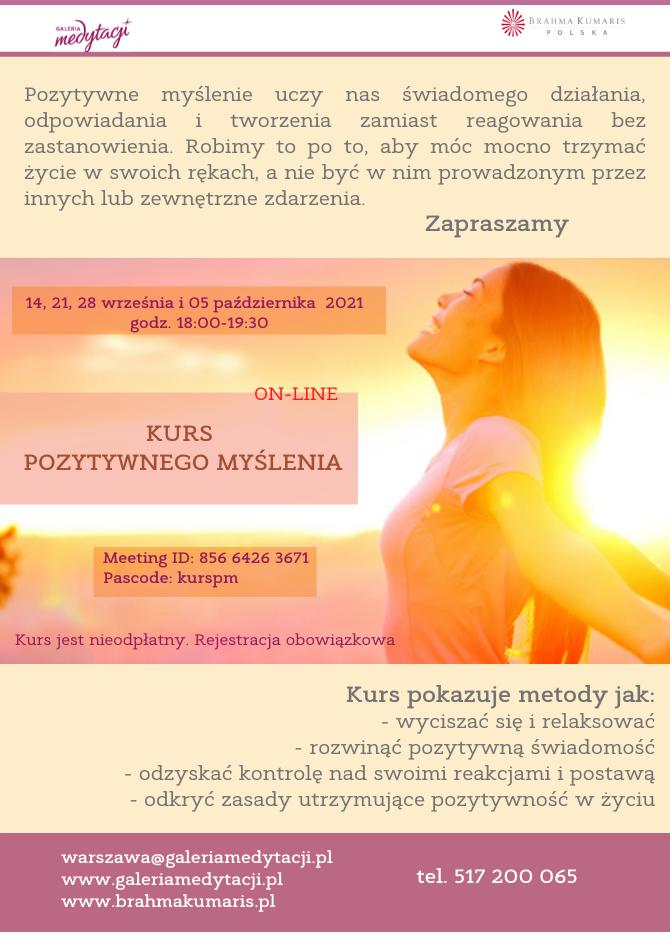 Kurs pozytywnego myślenia. Online. Sesja 1 @ Galeria Medytacji w Warszawie,