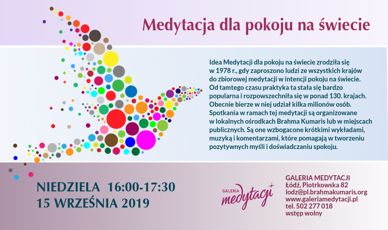 Medytacja dla pokoju na świecie w Łodzi @ Galeria Medytacji w Łodzi