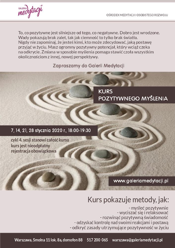 Kurs pozytywnego myślenia  w Warszawie. Sesja 1. @ Galeria Medytacji w Warszawie