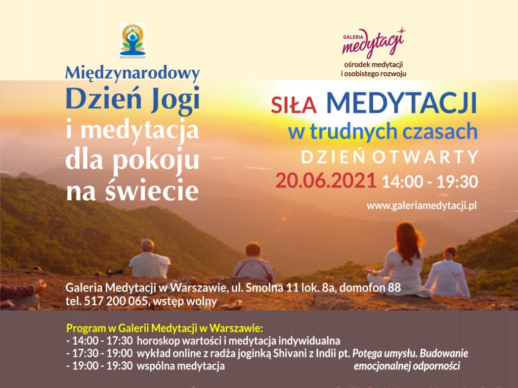 Dzień jogi i medytacja dla pokoju na świecie w Warszawie. Dzień otwarty w Galerii Medytacji w Warszawie @ Galeria Medytacji w Warszawie