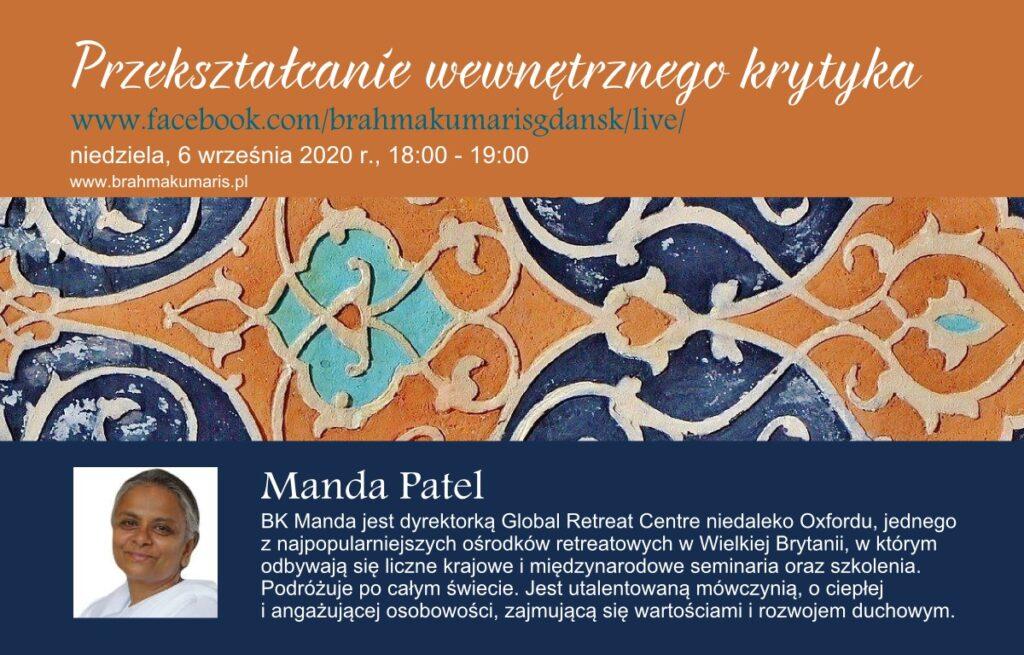 Przekształcenie wewnętrznego krytyka. Spotkanie online z Mandą Patel z Wielkiej Brytanii @ wydarzenie online FB Brahma Kumaris Gdansk