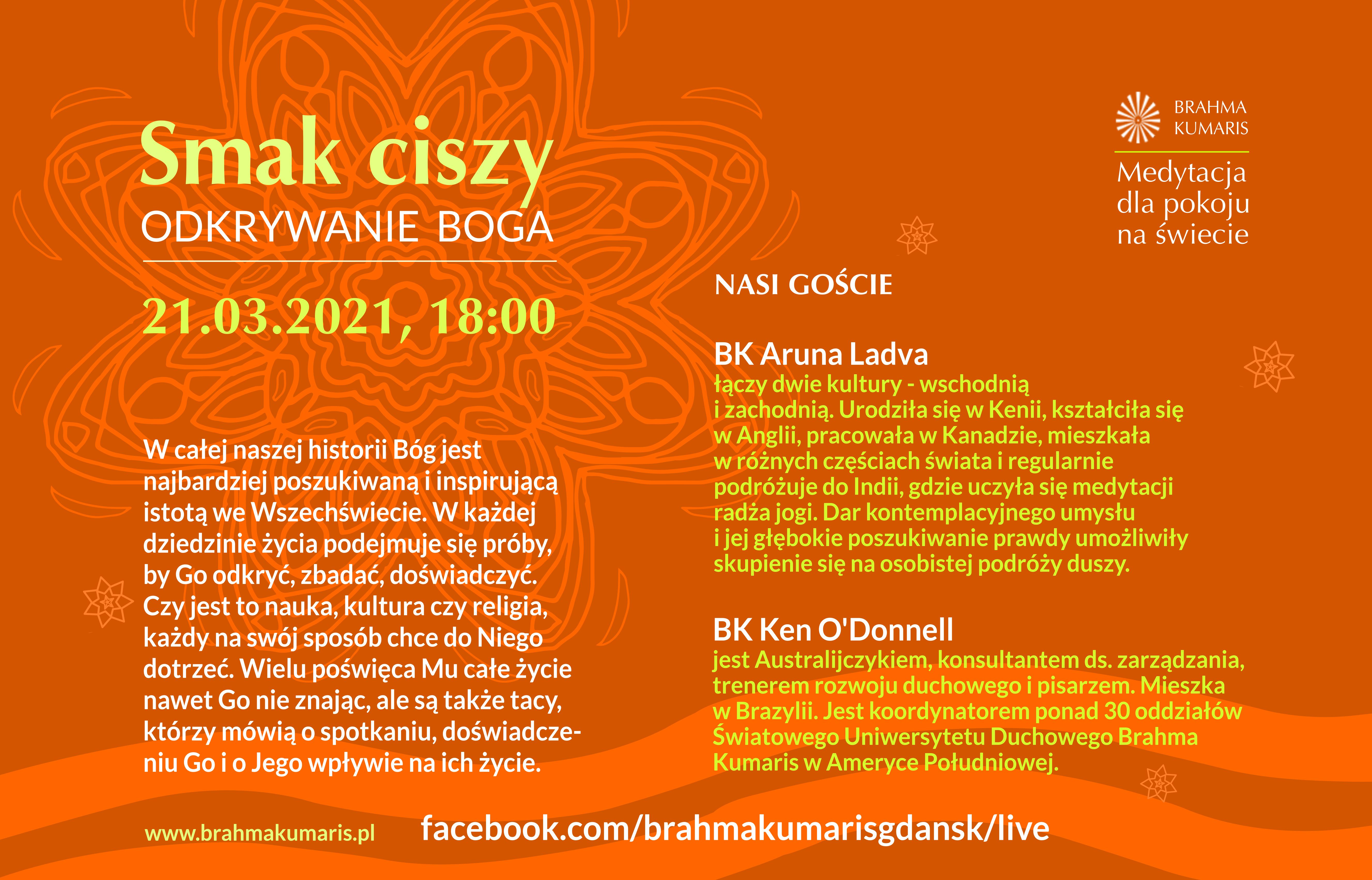Medytacja dla pokoju na świecie. Wydarzenie online @ https://www.facebook.com/brahmakumarisgdansk/