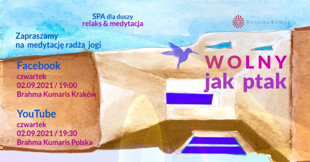 Wolny jak ptak. Medytacja w ramach cyklu SPA dla duszy. FB Brahma Kumaris Kraków & YouTube Brahma Kumaris Polska @ wydarzenie onliine